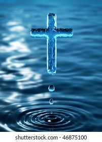 Cross of holy water