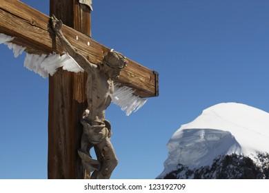 Cross of Jesus Christ in the Swiss Alps