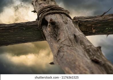 Cross of Jesus in Storm Closeup Selective Focus