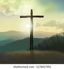 Cross of Jesus at Sunrise