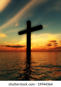The cross of Jesus in a tranquil ocean seascape.