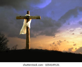 The Cross of Jesus with White Garment and Golden Sky