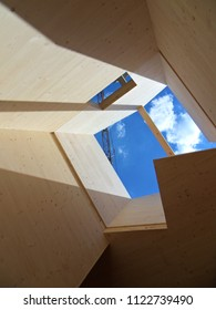 cross laminated timber on construction site