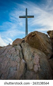 Cross and large boulders at Mount Rubidoux Park, in Riverside, California.
