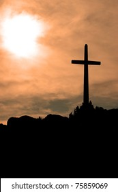 Cross in late afternoon sunlight; Mount Rubidoux; Riverside, California