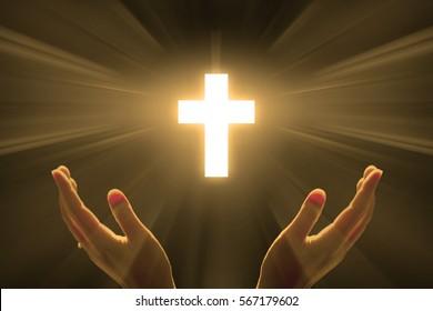 Cross light with Hands pray