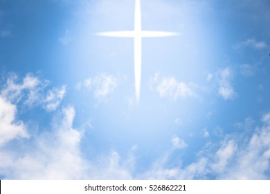 Cross with light on blue sky,Vast , ,Beautiful nature background,Faith belief and hope concept