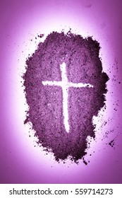 Cross made in ashes, Ash Wednesday, Lent season vintage abstract artistic background