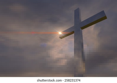 cross made from brick  made in 2d software