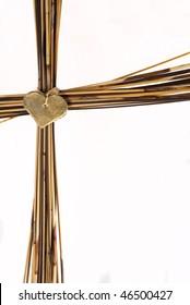 Cross made from brown grass