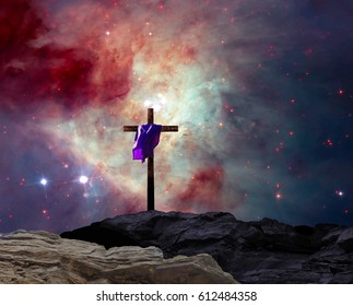 Cross at Night - Elements of this image furnished by NASA