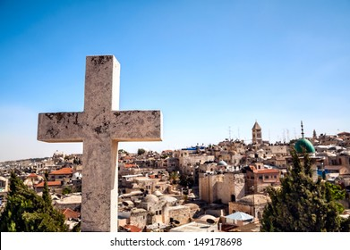 The cross on the background of Jerusalem Old City