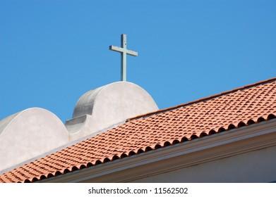 Cross on church roof; San Diego, California