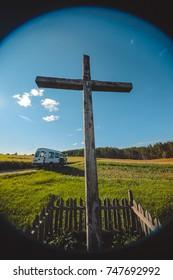 Cross on a field