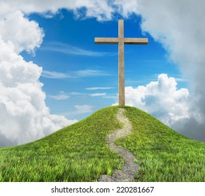 cross on hill and clouds