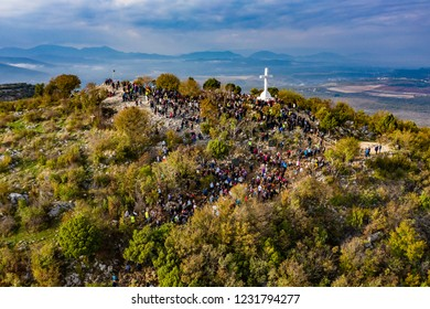 The Cross on mount Krizevac in Medjugorje, aerial view with drone, Bosnia and Hercegovina