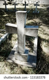 cross on old cemetery closeup