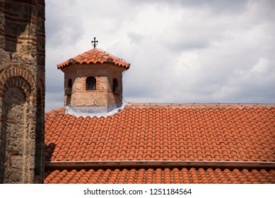 Cross on the roof of  Kalambaka Meteora Monastery Greece.