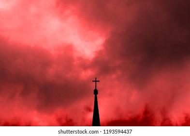 A cross on the sky