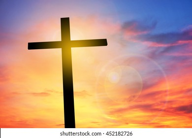 Cross on sunset, Concept conceptual black cross, Gospel concept.