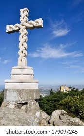 Cross on the top a hill, Pena Palace, Sintra (Portugal)
