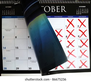 Cross out dates in the calendar concepts of a new month