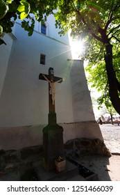 Cross,  outside of the oldest church in Szentendre ,  Hungary.