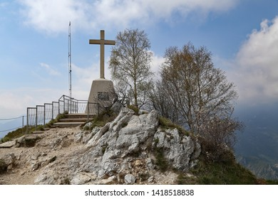 Cross at the peak of Piani D'Erna. Lecco. Italy.