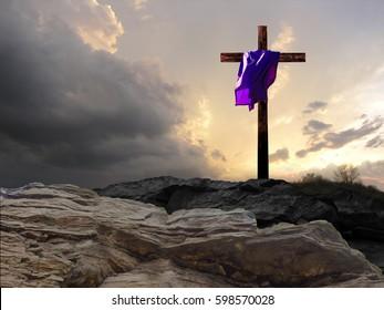Cross with Purple Garment