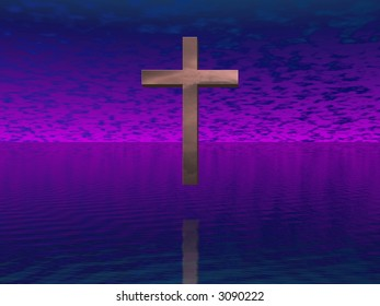 Cross in purple sky
