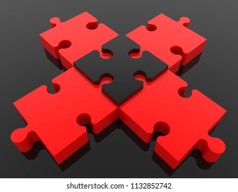 Cross of puzzle on black color.3d illustration