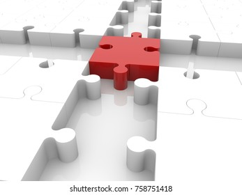 Cross of puzzle pieces with empty spaces.3d illustration.
