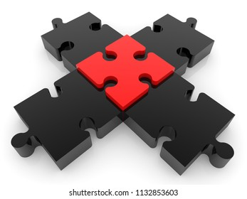 Cross of puzzle in red and black color.3d illustration