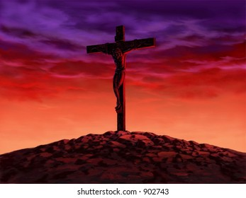 Cross with Red Sky