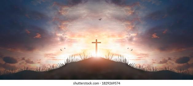 cross religion symbol silhouette in grass over sunset  sky cross religion symbol silhouette in grass over sunset or sunrise sky  - Shutterstock ID 1829269574