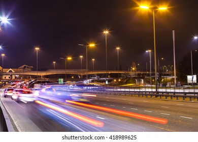 A cross road, flyover in London at night with long shutter. Brent Cross Flyover in London at night.