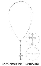 cross rosary christian pendant Silver gold pendnt fragment necklace link chain white backround isolated