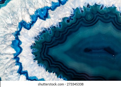 Cross section of a blue Brazilian geode commonly called Thunder Eggs or blue agate crystal