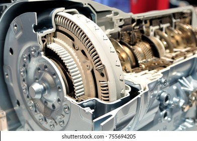Cross section of a car gear box with automatic transmission.