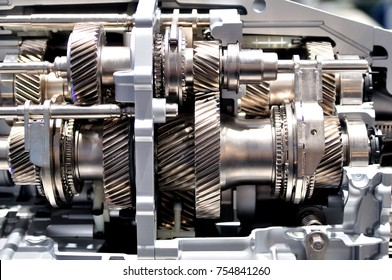 Cross section of a car gearbox.