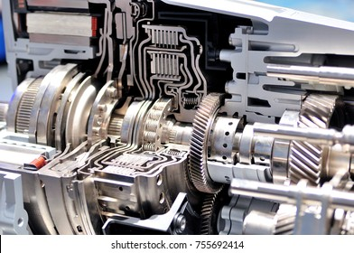 Cross section of a car gearbox with automatic transmission.