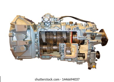 Cross section of a car gearbox. Automotive transmission gearbox with clipping path.