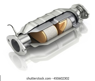 Cross section of catalytic converter with sensor flue gas - 3D illustration