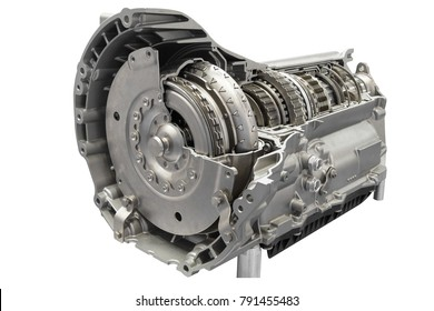 Cross section of a clutch and gearbox in transmission part isolated on a white background with clipping path