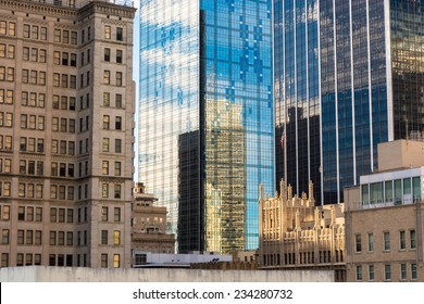 A cross section of downtown Dallas Texas displaying the diversity of the modern and historical architecture