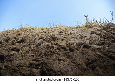 Cross section of earth with grass - closeup, frog view, cloudy sky behind.