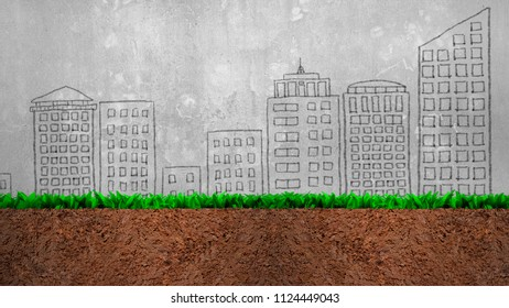 Cross section of grass and soil, on city buildings doodles of gray concrete wall background.