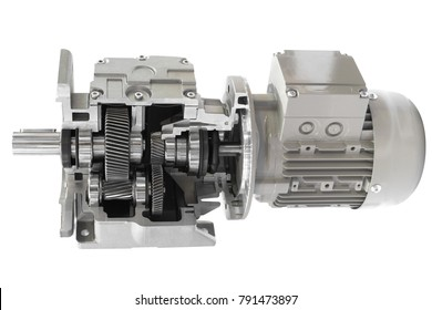 Cross section of a induction motor with gear box isolated on a white background with clipping path