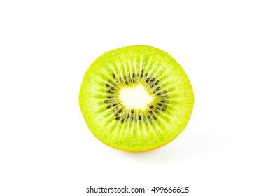 Cross section of kiwi fruit isolated on white background