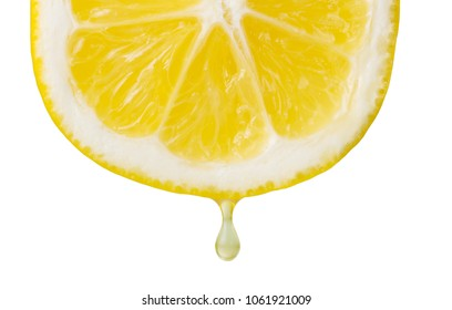 Cross section of lemon isolated on white. Closeup